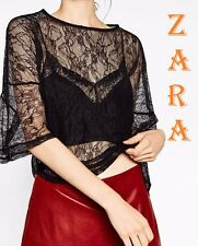 ZARA Flounce Sleeve Loose Fit Black Lace New with Tags Top Sheer Blouse S M L