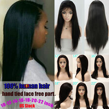 US Stock Malaysia Straight 100% Brazilian Remy Human Hair Full/Front Lace Wig
