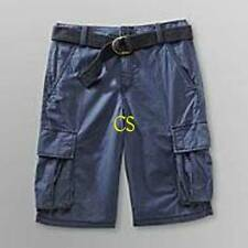 NWT-Boys Route 66 Adjustable Waist Dark Blue Cargo Belted Twill Shorts- 5, 8, 10