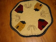 Primitive Candle Mat - Woolfelt Saltbox Houses w/willow trees 9""