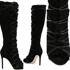 GIANVITO ROSSI 'ASPEN' SHEARLING LACE-UP KNEE-HIGH BLACK BOOTS, SIZE 38
