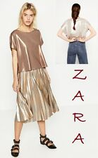 ZARA Cropped Metallic Sparkling TShirt Sleeveless Drop Shoulder New Top Size M L