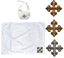 Baby Shower Toddler Dedication Christening SWADDLING BLANKET BIB SET Gold Cross