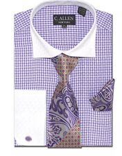 Men's C Allen Purple Checkered Dress Shirt French Cuffs Hanky