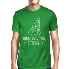 Home Where Pizza Is Mans Kelly Green Tee Cute Graphic T-shirt