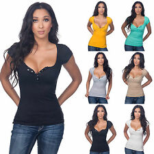 Summer Womens Loose Casual Short Sleeves Sexy V Neck T-Shirt Blouse Ladies Tops