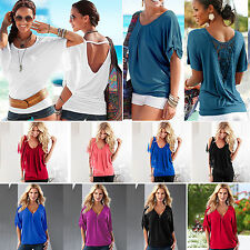 New Womens Summer Batwing Short Sleeves T-Shirt Tops Fashion Casual Baggy Blouse