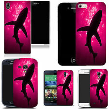 gel case cover for many mobiles  -  pink shadow shark silicone