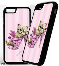 Breast Cancer Ribbon Kitten Shoe Phone Case Cover For iPhone Samsung Galaxy D25