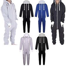 Kids Boys Girls Plain Hooded Onesie All In One Hoody Playsuit Jumpsuit Size 7-13