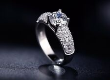Exquisite S925 White Gold Plated Vintage 1.5 Carat Cubic Zirconia Engagemen Ring