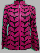 Pink Leather Leaf Jacket for Women All Colors All Regular Sizes Available
