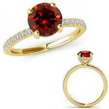1.25 Carat Red Diamond Bridal Solitaire Eternity Band Ring Set 14K Yellow Gold
