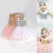 New Baby Girls Party White Pink Sequin Birthday Fancy Dress With Bow Headband