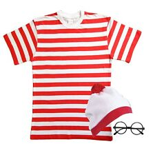 Childrens RED & WHITE STRIPED T-Shirt Hat Glasses Book Week Fancy Dress outfit