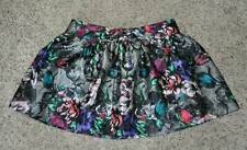 NWT $38-Jr. Girls Candies Gray Multi Floral Lined Shiny Mini Skirt-size 9 & 13