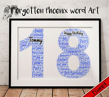 Personalised 18th Birthday Gift Present Print A4 Any Number Age Adult
