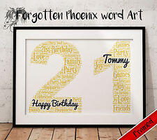 Personalised 21st Birthday Gift Present Print 16th 18th 20th 30th 40th 50th 60th