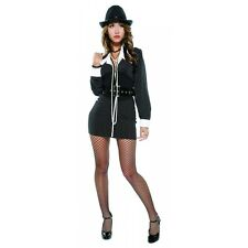 Gangster Girl Costume Adult Roaring 20s Female Mobster Halloween Fancy Dress