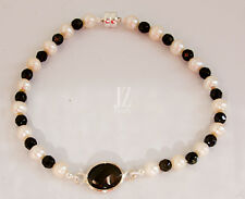 Freshwater Pearl and Black Onyx bead Bracelet with Sterling Silver & Onyx Charm