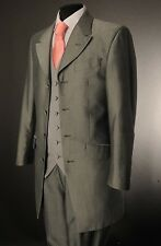 MJ-207 MEN'S SILVER MOHAIR TWO PIECE FORMAL PRINCE EDWARD FORMAL WEDDING SUIT