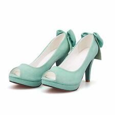 Womens Suede Bowknot Open Toe High Stilettos Heels Peep Toe Platform Pumps Shoes