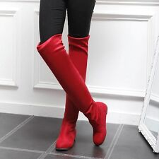 Womens Suede Pull On Platform Flat Low Wedge Heels Over the Knee Boots Shoes