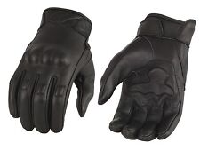 Milwaukee Men's Motorcycle Leather Glove Gel Palm -Rubberized Knuckle