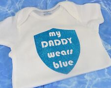 My Daddy Wears Blue Custom Police Onesie Mommy Baby Shower Gift Back The Blue
