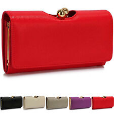 Ladies Large Trifold Bobble Matinee Leather Style Purse Coin Money Women Wallets