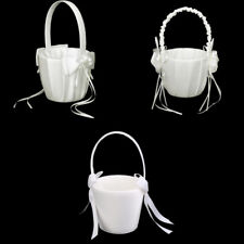Satin Faux Pearl Bow Flower Girl Basket Wedding Ceremony Decorations- Ivory
