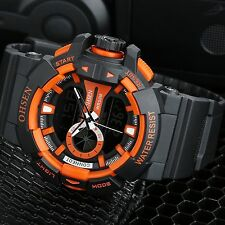 OHSEN Men's Quartz Military LED Dual Time Waterproof Sports Analog Digital Watch