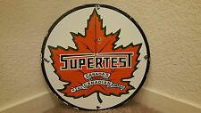 "VINTAGE SUPERTEST GASOLINE 11 3/4"" PORCELAIN GAS & OIL SIGN PUMP PLATE LUBESTER"