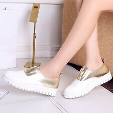 Womens Synthetic Leather Elastic Flats Loafers & Moccasins Casual Platform Shoes