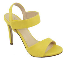 Delicious Women Ankle Strap High Heel Open Toe Dress Sandals Yellow Mustard DRAG
