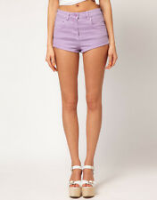 Ladies Size 8 - 16 New Stretch Denim Shorts Hotpants Lilac Ex store *LICK*