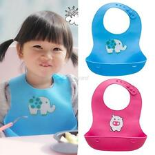 Baby Infants Cute Silicone Bibs Toddler Waterproof Cartoon Patterns Lunch Bibs