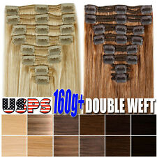Double Weft Extra Thick 160g++ Clip In Remy Human Hair Extension Full Head U896
