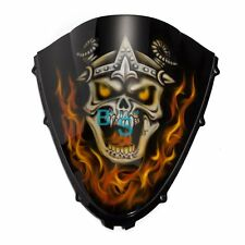 Airbrushed Flame Skull Windscreen Windshield Fit Honda Fairing motorcycle BSE