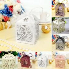 2017 hot 10/50/100Pcs Love Heart Wedding Party Favor Ribbon Candy Boxes Gift Box