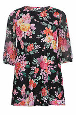 Womens Plus Size Black Multi Floral Print Tunic Swing Dress 3/4 Chiffon Sleeves