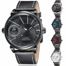 OHSEN Luxury Mens Leather Waterproof Dual Time Military Sport Quartz Wrist Watch