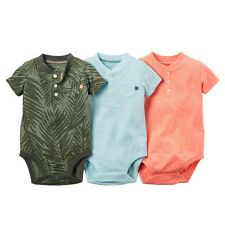 Carters Baby Clothing Boys 3-Pack Short-Sleeve Bodysuits Green/Blue/Orange