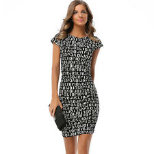 Women Sexy Short Sleeve LetterMini Pencil Dress Bodycon Slim Club Evening Party