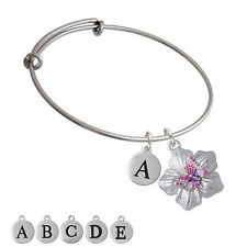 Pink & Purple Butterfly on Large Flower Bangle Bracelet, Select Initial