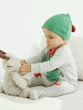 BNWT Next Baby Boy Christmas Elf Sleepsuit & Hat Outfit Set 0-3-6 Months