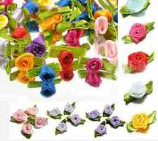 Ribbon Satin Rose Wedding Flower Decor Bow Appliques Craft Sewing Leaves 100PCS