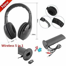 LOT 5 in 1 Hi-Fi Wireless Headset Headphone Earphone for TV DVD MP3 PC Black FY