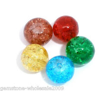 Wholesale Lots Mixed(5Color) Crackle Glass Round Beads 8mm Dia.