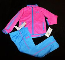 Under Armour pink teal blue track sweats suit jacket pants outfit girls 4 4T $40